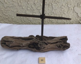 Handcrafted Driftwood Cross with Vintage Nails