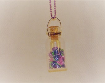 "Miniature 1 3/8"" Glass Bottle of Fruit Necklace"