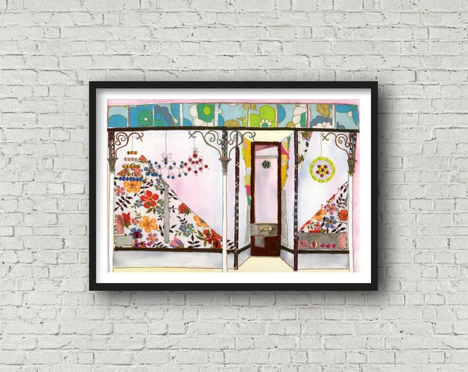 Shop front - Victorian Shopfront - PRINT of original artwork