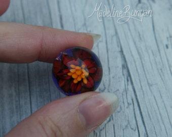 Everlasting Red flower Valentine Marble, unusual valentines gift, collectible glass art, sphere, lampwork, flower, implosion
