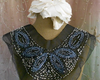 Gray Stitched Beaded Applique