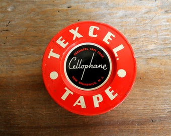 mid century tin litho can Texcel Tape