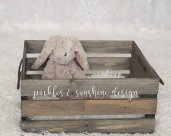 Lightweight rustic barnwood-look wooden slat crate, photography prop, rope handles, newborn or sitter prop, RTS