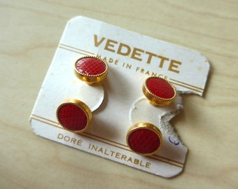 """So Great ! Vintage 1940's 1950's French NOS Cuff Links, """"Vedette"""" in Red Faux Reptile"""