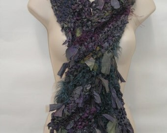 Knitted  Purple, Pink and Grey Sari Silk Scarf