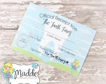 Tooth Fairy Receipt • Lost Tooth • Tooth Fairy • Tooth Pillow • Keepsake • Scrapbooking • Birthday Gift • Handmade