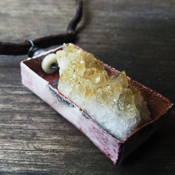 Citrine cluster shadowbox necklace   raw crystal, yellow citrine, crystal shadowbox, rustic boho, raw crystal necklace, crystal cluster