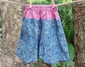Little Girls Harem Pants, Boho Summer Trousers Indigo Batik With Pink Batik Waist, Toddlers Cotton Pants, Baggy Pants FREE Shipping