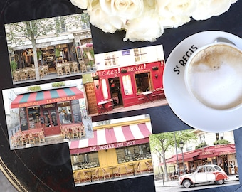 SALE! Paris Photography Postcards - Paris Cafes Postcard Series 3, Blank Card, Greeting Card, Stationery