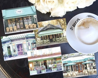 SALE! Paris Photography Postcards - Paris Cafes Postcard Series 4, Blank Card, Greeting Card, Stationery