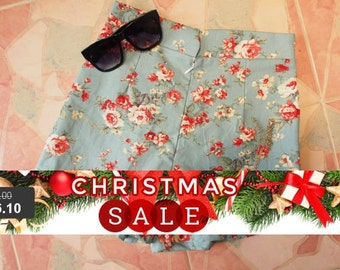 "Christmas SALE Floral High Waist Short - Greenish Blue with Floral - Summer Shorts - Free Size Waist 26""-28"", Hip 35""-37&q..."