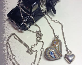Fordite - GM Detroit Vintage Car Paint Puffy Heart with Sterling Silver Toggled Y Necklace