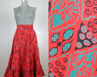 Vintage 1950s Cotton Skirt 50s Geometric Atomic Print Christmas Half Circle Skirt with Ruffled Hem