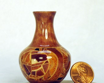 Random Segmented Woods Turned Miniature Vase