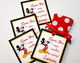 Set of 12 Personalized Thank You Party Favor Tags, Happy Birthday Party, Mickey Mouse, Party Decorations