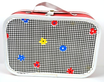 Vintage Child's Cardboard Suitcase Red and White Overnight Bag Childrens Luggage Checkered Flower Pattern Doll Clothes Storage Case