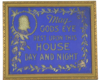 Vintage 1940s Religious Glitter Picture in Wood Frame Blue With Silver May Gods Eye