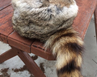 Rabbit raccoon tail winter hat