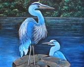 ORIGINAL Blue Herons  wildlife painting, Florida landscape , blue herons,swamp,  nature coast, large painting, 24x36 by Don Hester