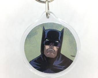 Upcycled Comic Book Keychain Featuring - Batman