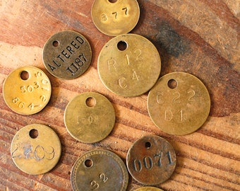 10 Vintage Numbered Brass Tags Cow Tags Laundry Locker Rustic Industrial Metal Tags Craft Supply