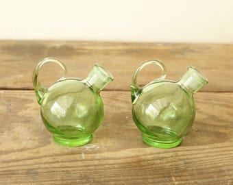 Vintage Antique Green Depression Glass Tilt Ball Cruet Bottles Set of Two Oil and Vinegar