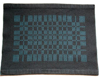 Handwoven Placemat- Charcoal and Teal