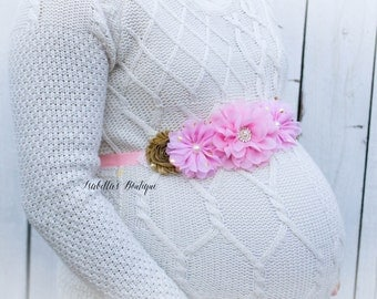 Light Pink Gold Maternity Belly Sash - Photo Prop Pregnancy Maternity Belt It's a Girl It's a Boy Accessories Baby Photography