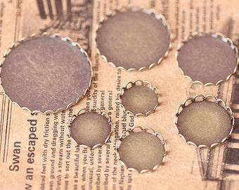 20Pcs 12MM vintage round pendant setting,vintage bronze pendant base setting1411011