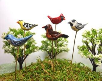Birds-Choice of 5 different birds on a removable wire-OOAK-Polymer Clay Birds-Blluebird/Goldfinch/Robin/Cardinal/Chickadee