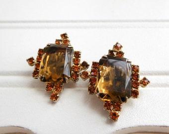 Vintage Juliana Style Topaz Amber Orange Rhinestone Clip On Earrings UU9