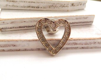 Vintage Avon Small Silver Tone Clear Rhinestone Heart Brooch Pin Estate Jewelry