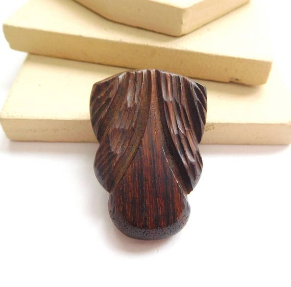 Vintage Antique Art Deco Carved Dark Brown Wood Marked HETL Dress Clip L41