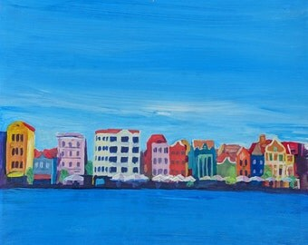 Willemstad Curacao Waterfront in Blue - Fine Art Print - Original Available