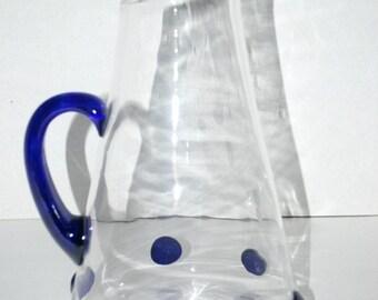 on sale Vintage glass pitcher cobalt handle   blown glass pitcher   cobalt handle   cobalt glass