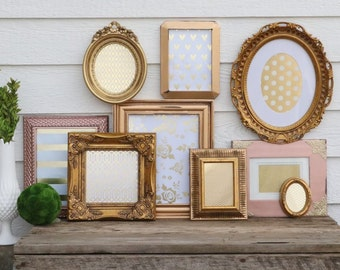 Set of 9 Gold, Copper, Rose Gold Picture Frame Set - Nursery, Wedding, Home Decor - Wall Group - Gold, Copper, Bronze - Wall Frames -Oval