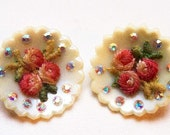 "Flower Celluloid Clip On Earrings  Pink Green Embroidery Roses & Rhinestones 1 1/4"" Vintage"