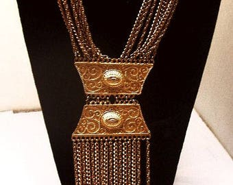 "Egyptian Revival Statement Necklace Dangling Tassel Chains & Gold Plaques 30"" Vintage"