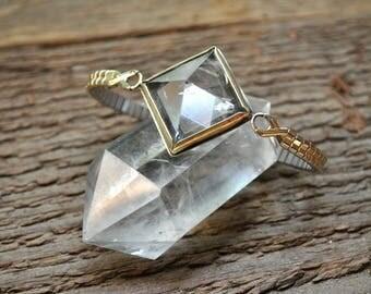 Giza Pyramid Crystal Watch // Clear Quartz Vintage Brass