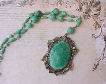 Gorgeous Art Deco Era Necklace with Green Beads and Filigree Pendant Set with Green Glass