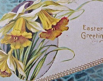 Lovely 1914 Era Easter Postcard with Pretty Yellow Jonquils on Aqua Background