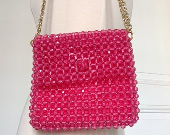 Vintage pink plastic beaded bag Italy 70s purse
