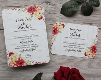 Sample Set of the Fall Flora Invitation Suite