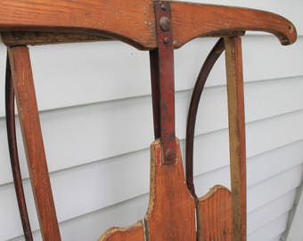 Vintage Early Wood Sled // Wood and Red Metal // Porch Decor // Perfect Prop