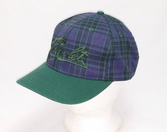 Vintage 1990s Snap back Trucker Ball Cap - Chevrolet on Blue Plaid Pattern - Hipster, Rockabilly, Chevy, Gearhead, Accessories, Dad Hats