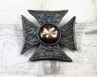 Vintage Maltese Cross Brooch, Maltese Cross Brooch with Star Cabochon, Gothic Maltese Cross Brooch