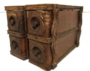 Vintage Sewing Machine Drawers Wood Carved Storage Drawers Ornate Wood Drawers Treadle