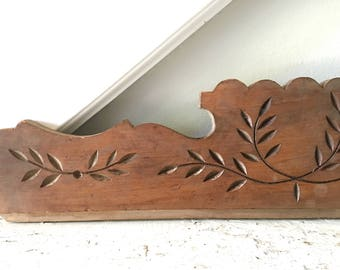 Vintage Salvage Wood Architectural Piece Carved Wood