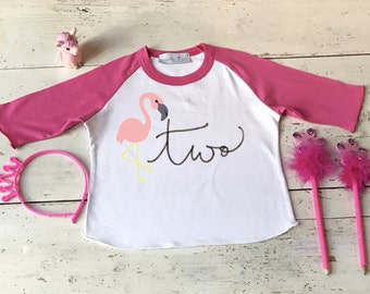 Girl Second Birthday Shirt - Two Year Old Birthday Shirt - Two Whole Years of Awesome - Flamingo Shirt - 2nd Birthday Girl
