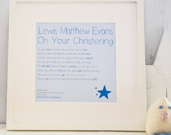 personalised boys christening baptism print with frame